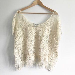 Boho Sheer Crochet Top with Fringe - S/M